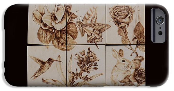 Monotone Pyrography iPhone Cases - Gardenmania - Combination 6 iPhone Case by Perry Chow