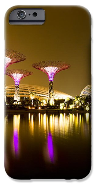 Modern Pyrography iPhone Cases - Gardens by the Bay Singapore iPhone Case by Henry MM