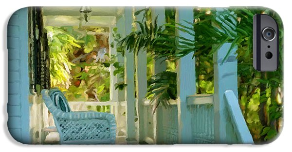 Recently Sold -  - Garden Scene Paintings iPhone Cases - Gardens Porch in Key West iPhone Case by David  Van Hulst