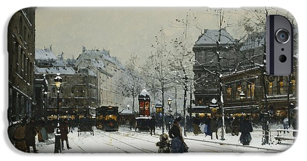 Snowy Day iPhone Cases - Gare du Nord Paris iPhone Case by Eugene Galien-Laloue