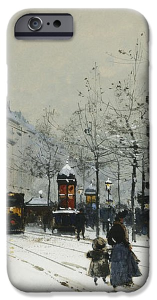Gare du Nord Paris iPhone Case by Eugene Galien-Laloue