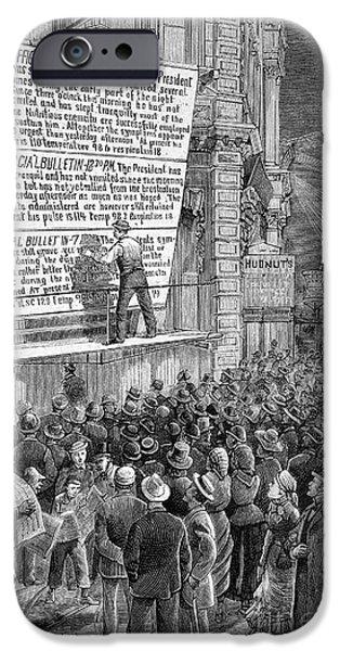 President iPhone Cases - Garfield Assassination Bulletins, 1881 iPhone Case by Bildagentur-online