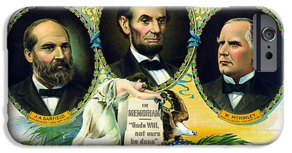 President iPhone Cases - Garfield Lincoln and McKinley In Memoriam iPhone Case by War Is Hell Store