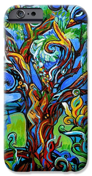 Crows iPhone Cases - Gargoyle Tree With Crow iPhone Case by Genevieve Esson
