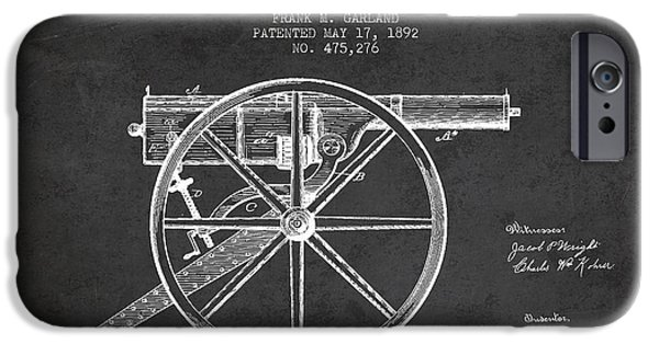 Machines iPhone Cases - Garland Machine Gun Patent Drawing from 1892 - Dark iPhone Case by Aged Pixel