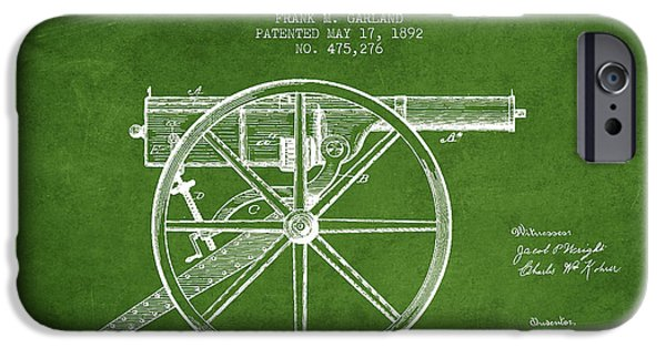 Machines iPhone Cases - Garland Machine Gun Patent Drawing from 1892 - Green iPhone Case by Aged Pixel
