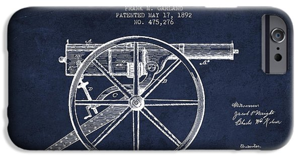 Machine iPhone Cases - Garland Machine Gun Patent Drawing from 1892 - Navy Blue iPhone Case by Aged Pixel