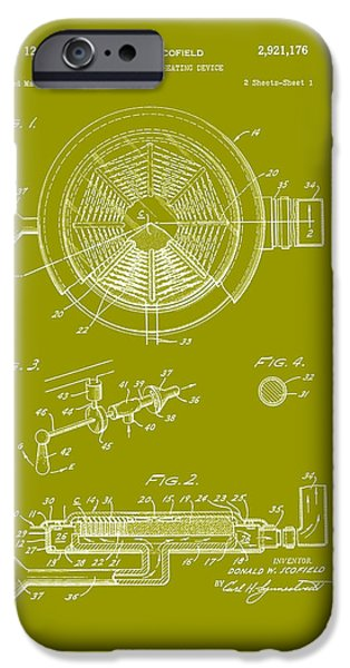 Electric Drawings iPhone Cases - Gas Electric Heating Device Patent 1960  iPhone Case by Mountain Dreams