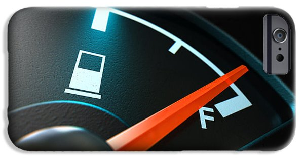 Fuels iPhone Cases - Gas Gage Illuminated Full iPhone Case by Allan Swart