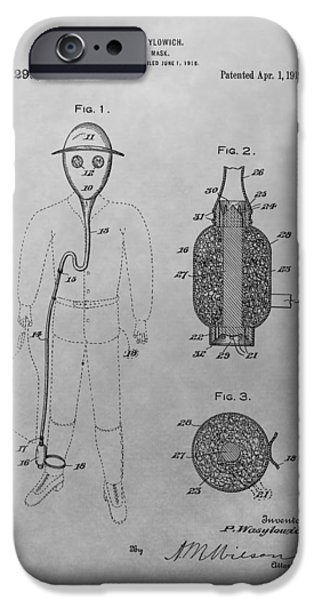Biological Drawings iPhone Cases - Gas Mask Patent Drawing iPhone Case by Dan Sproul