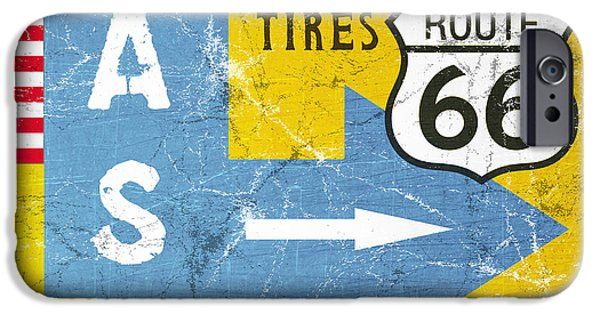 Traffic Sign iPhone Cases - Gas Next Exit- Route 66 iPhone Case by Linda Woods
