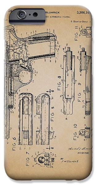 Weapon Drawings iPhone Cases - Gas Operated Semi-Automatic Pistol iPhone Case by Mountain Dreams