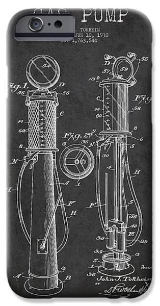 Gas iPhone Cases - Gas Pump Patent Drawing From 1930 - Dark iPhone Case by Aged Pixel