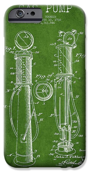Gas iPhone Cases - Gas Pump Patent Drawing From 1930 - Green iPhone Case by Aged Pixel