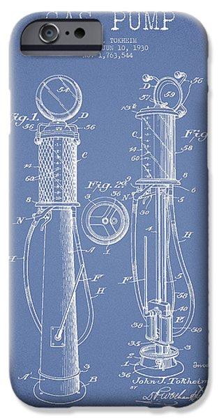 Gas iPhone Cases - Gas Pump Patent Drawing From 1930 - Light Blue iPhone Case by Aged Pixel
