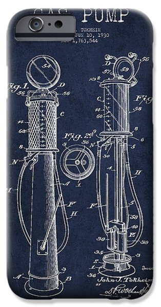 Gas iPhone Cases - Gas Pump Patent Drawing From 1930 - Navy Blue iPhone Case by Aged Pixel