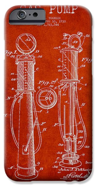Gas iPhone Cases - Gas Pump Patent Drawing From 1930 - Red iPhone Case by Aged Pixel