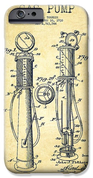 Fuels iPhone Cases - Gas Pump Patent Drawing From 1930 - Vintage iPhone Case by Aged Pixel
