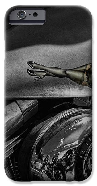 Gas Tank Pin Up Girl iPhone Case by Jeff Swanson