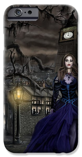 Thunder Paintings iPhone Cases - Drucilla - Gaslight Fantasia Cover Darkhair iPhone Case by James Christopher Hill