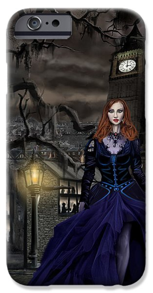 Thunder Paintings iPhone Cases - Gaslight Fantasia Cover Redhead iPhone Case by James Christopher Hill