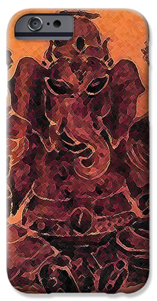 Nature Study Paintings iPhone Cases - Ganesha iPhone Case by Michelle Rene Goodhew