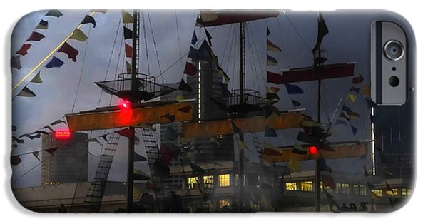 Pirate Ship iPhone Cases - Gasparilla ship print work C iPhone Case by David Lee Thompson