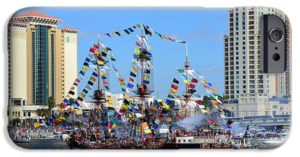 Pirate Ships iPhone Cases - Gasparilla work D iPhone Case by David Lee Thompson