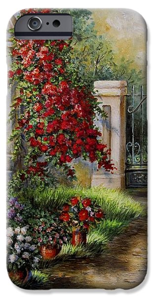 Gate to the hidden Garden  iPhone Case by Gina Femrite