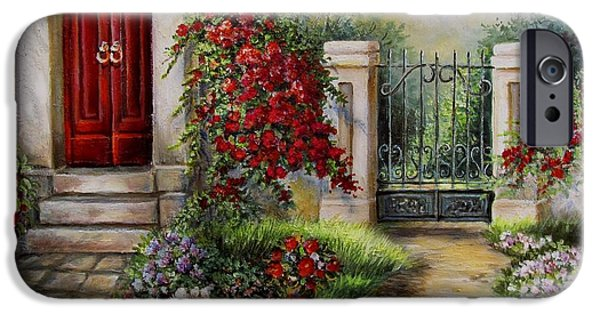 Garden Scene Paintings iPhone Cases - Gate to the hidden Garden  iPhone Case by Gina Femrite