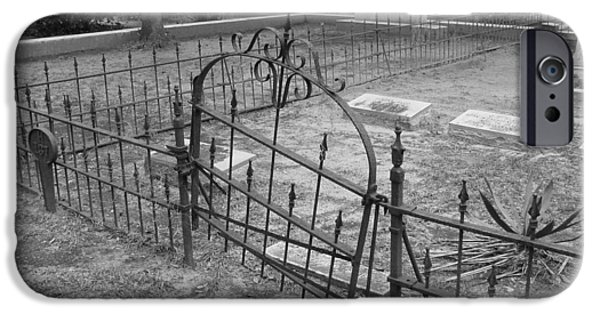 Headstones iPhone Cases - Gated Community in Black and White iPhone Case by Suzanne Gaff