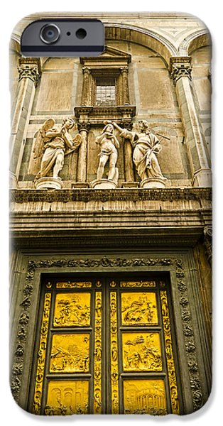 Florence Cathedral iPhone Cases - Gates of Paradise - Florence Italy iPhone Case by Jon Berghoff