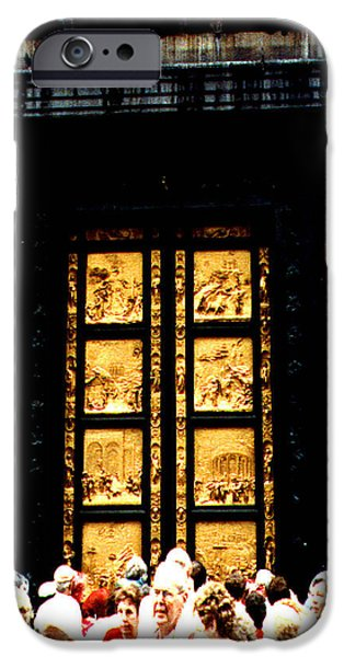 The Baptistry iPhone Cases - Gates of Paradise The Baptistry Florence Italy iPhone Case by Merton Allen