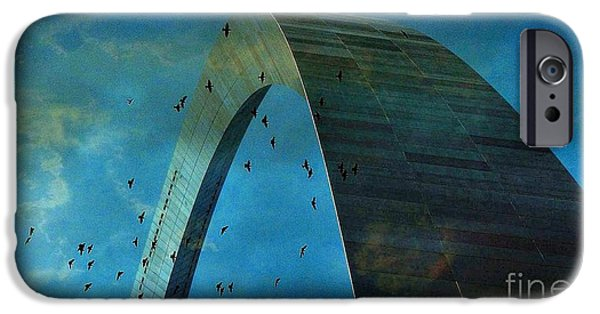 Stainless Steel iPhone Cases - Gateway Arch with Birds iPhone Case by Janette Boyd