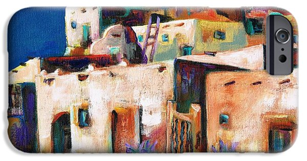 Whimsical. Paintings iPhone Cases - Gateway Into  The  Pueblo iPhone Case by Frances Marino