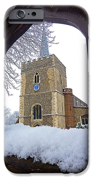 Wintertime iPhone Cases - Gateway To Heaven - Church Viewed Through The Gate iPhone Case by Gill Billington