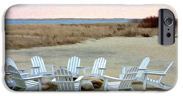 Chatham Digital Art iPhone Cases - Gather Around the Fire Pit iPhone Case by Jayne Carney