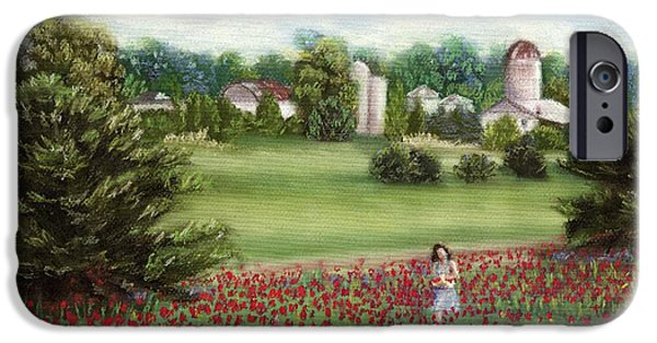 Farm Landscape Pastels iPhone Cases - Gathering Poppies iPhone Case by Kathryn Foster