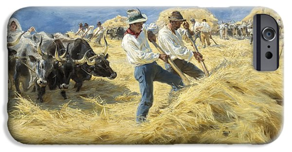 Concept Paintings iPhone Cases - Gathering the Harvest iPhone Case by Peder Kroyer