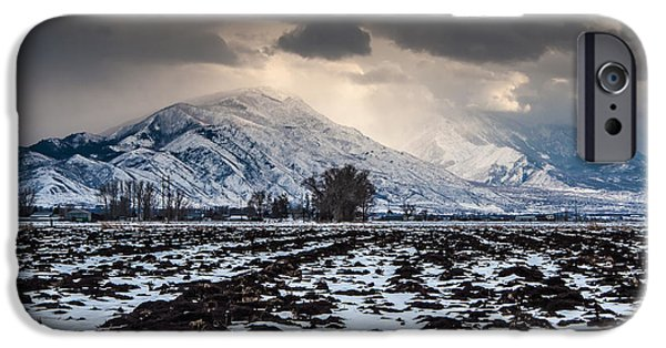 Winter Storm iPhone Cases - Gathering Winter Storm - Utah Valley iPhone Case by Gary Whitton