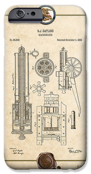 Jordan iPhone Cases - Gatling Machine Gun - Vintage Patent Document iPhone Case by Serge Averbukh