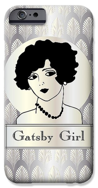 Jordan iPhone Cases - GATSBY GIRL in silver and pearl iPhone Case by Cecely Bloom