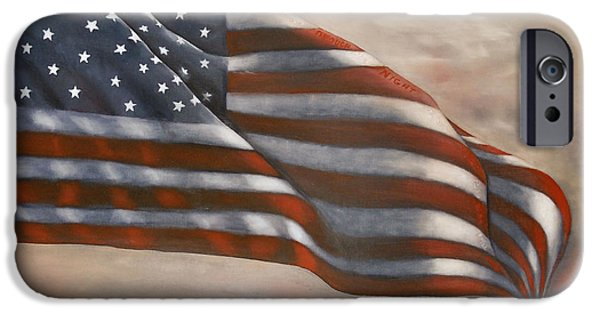 Star Spangled Banner Paintings iPhone Cases - Gave Proof Through the Night iPhone Case by Michelle Iglesias