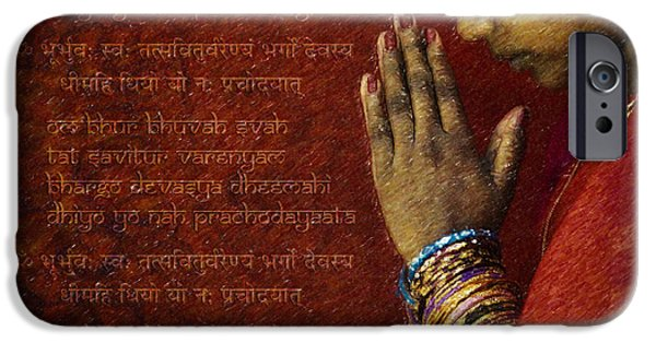 Prayer Digital Art iPhone Cases - Gayatri Mantra iPhone Case by Tim Gainey