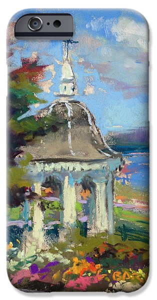 Maine Landscapes Pastels iPhone Cases - Gazebo Flowers iPhone Case by Greg Barnes