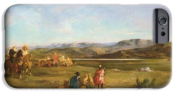 Orientalists Photographs iPhone Cases - Gazelle Hunt In Chott El-hodna, 1856 Oil On Canvas iPhone Case by Eugene Fromentin