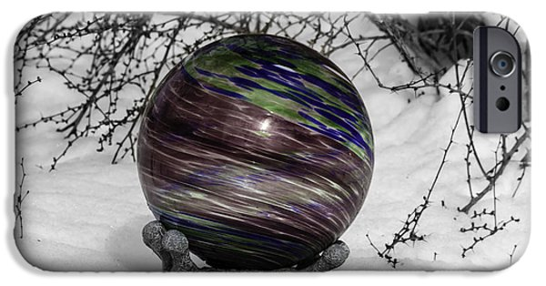 Winter Storm iPhone Cases - Gazing Ball Squared iPhone Case by Teresa Mucha