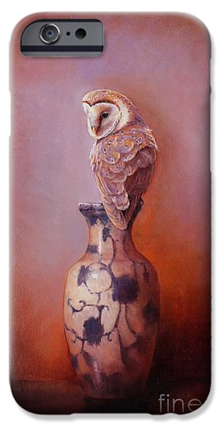 Barns iPhone Cases - Gazing - Barn Owl iPhone Case by Lori  McNee