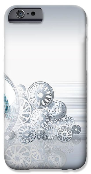 Gears Behind Earth iPhone Case by Mike Agliolo