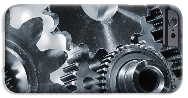 Stainless Steel iPhone Cases - Gears Cogs And Chains iPhone Case by Christian Lagereek